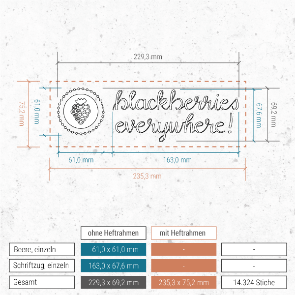 Stickdatei Blackberries everywhere! - mit Schrift