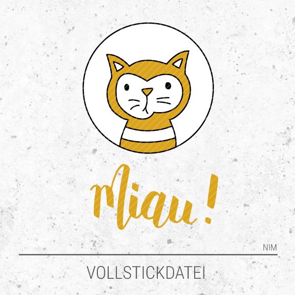 Stickdatei Miau! - Kater / Katze im Scheinwerferlicht