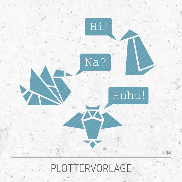 Plotterdatei / Plottervorlage Geometrische Tiere - Schwan, Uhu und Pinguin