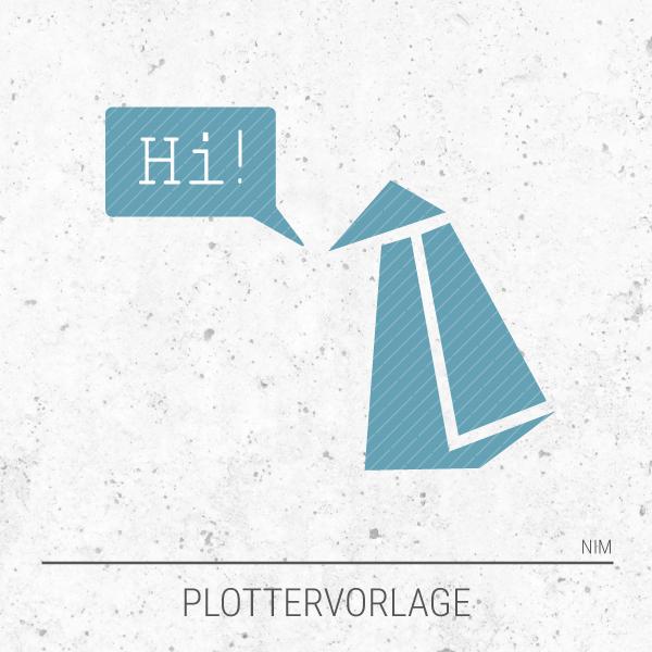 Plotterdatei / Plottervorlage Geometrische Tiere - Pinguin Paul sagt Hi!