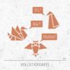 Stickdatei Geometrische Tiere - Schwan, Uhu und Pinguin
