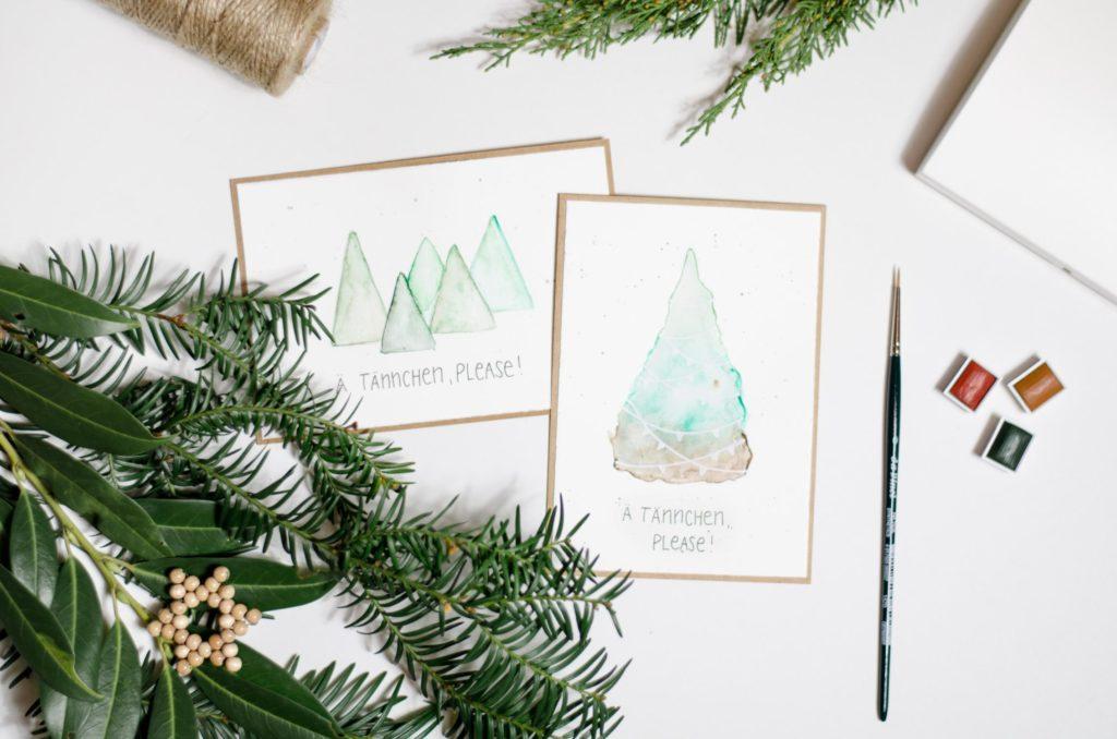 Ä Tännschen, please! Weihnachtskarte mit Aquarell-Tannenbaum und Lettering