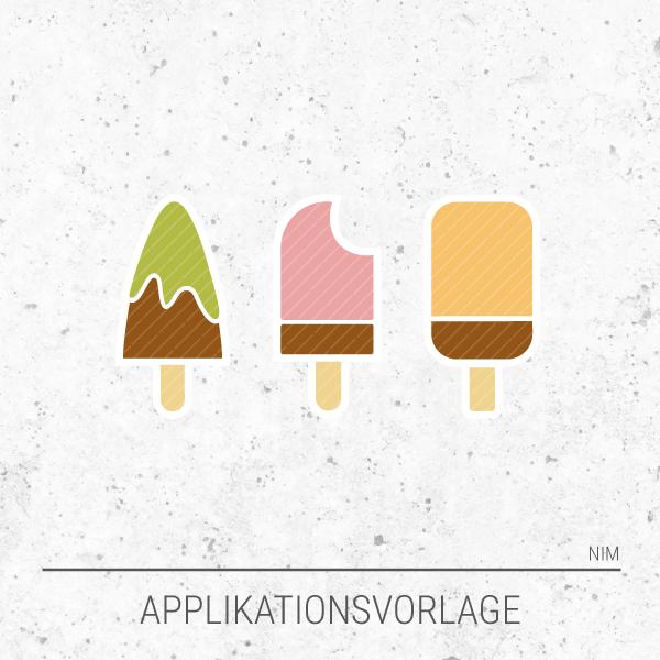 Applikationsvorlage / Applikationsdatei Eis am Stiel, aus drei fruchtigen Leckeisen