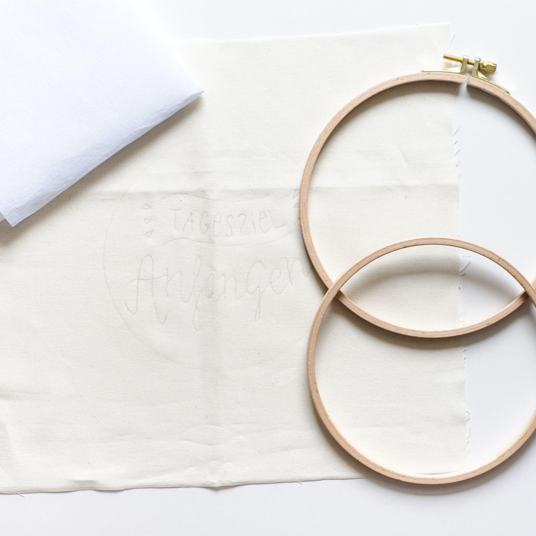 Stick-Tutorial: Handsticken im Stickrahmen mit Näh ich mir! Stickvorlage,, Stoff und Vlies einspannen