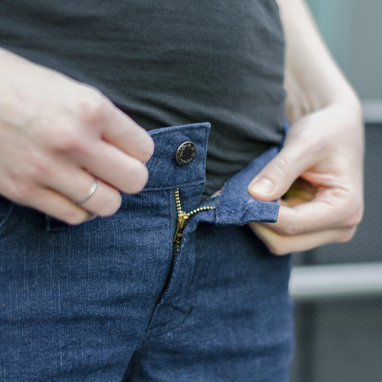 Jeans nähen, Schnittmuster Ginger Jeans von Closet Case Patterns, Reißverschluss (fly shield) und Knopfloch, mit Jeansknopf