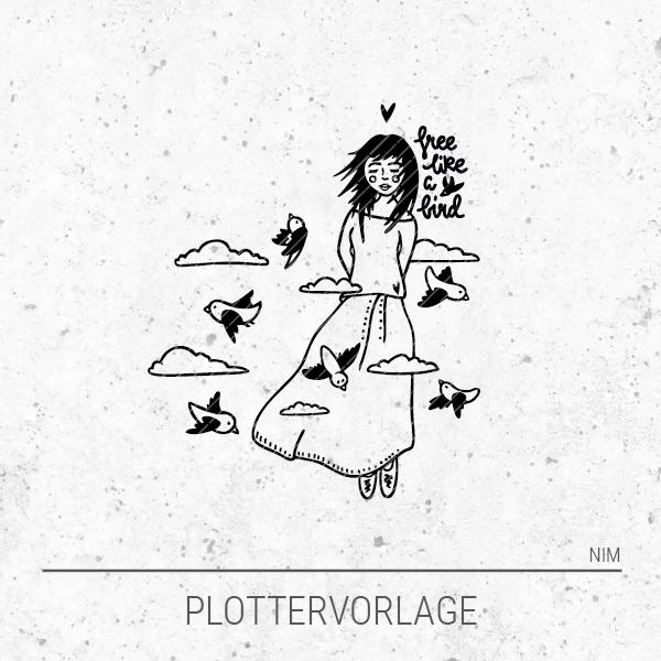 Plotterdatei / Plottervorlage Vogelmädchen - free like a bird